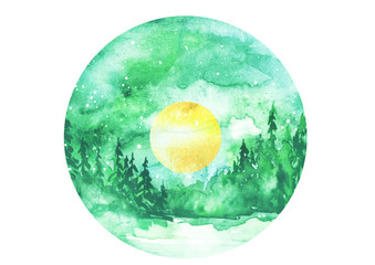 Watercolor painting, greeting card. Forest, suburban landscape, silhouettes of fir trees, pines, trees and bushes, the night sky with stars, yellow moon.  green color. Watercolor round logo