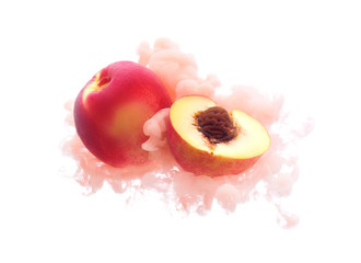 Peach on ink isolated over white background