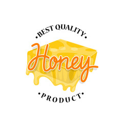 Honey flowing from honeycomb label design