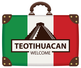 Vector travel banner or logo. The teotihuacan pyramids in Mexico, North America. Ancient stepped pyramids with temples on top. Mesoamerican architectural landmark