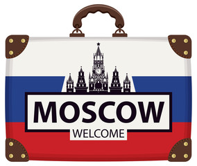 Vector travel banner with suitcase in colors of Russian flag with the Kremlin on red square in Moscow, Russia. The inscription Moscow welcome