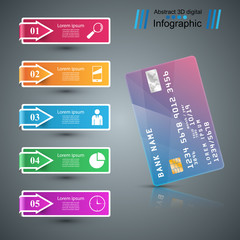 Bank card icon. Business infographic. Vector eps 10