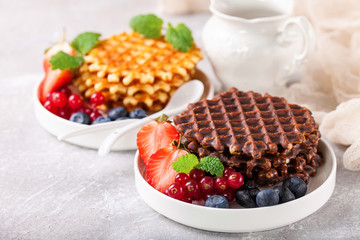 Wafers with berries. Selective focus. Copy space