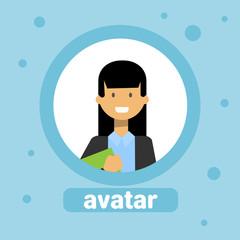 Woman Profile Avatar Businesswoman Icon Element User Image Female Face Flat Vector Illustration