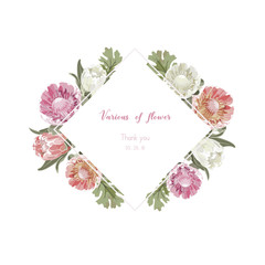 Vintage and luxurious floral vector greeting card with flowers in garden and square label, vector Illustration