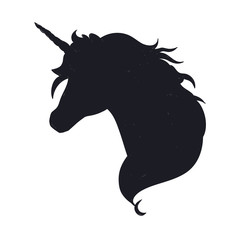 Unicorn head silhouette . Vector hand drawn illustration for print, banner, poster.
