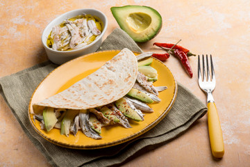 piadina with avocados marinated anchovies and hot chili pepper