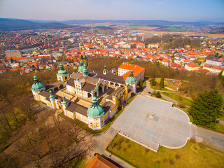 Aerial view to Svata Hora (Holy Mountain). It is the oldest and most important Marian place of pilgrimage in the Central Europe. Early Renaissance Landmark near Pribram in Czech Republic.