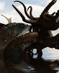 Giant fish vs Octopus