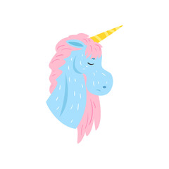 Cute magic unicorn character with closed eyes cartoon vector Illustration on a white background