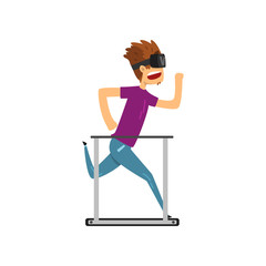 Young man cartoon character in virtual reality headset running on a treadmil, full virtual reality concept vector Illustration on a white background