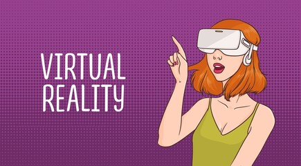 Horizontal banner with young redhead woman wearing virtual reality glasses against purple dotted background. Female cartoon character enjoying VR headset effects. Colorful vector illustration.