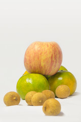 Fresh fruit and a white background taken in a studio.