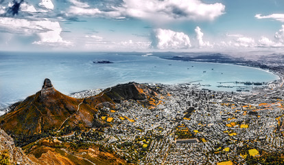 capetown panorama with signal hill. Filtered version.