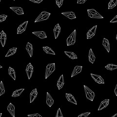 Wall Mural - Seamless pattern with white silhouette of crystals gemstones on black background. Line art. Vector illustration.