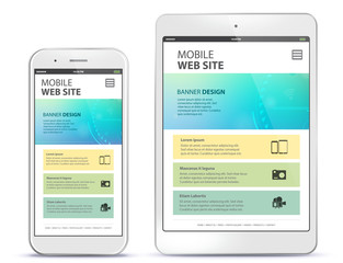 Mobile Web Site Design With Mobile Phone and Tablet Computer Screen