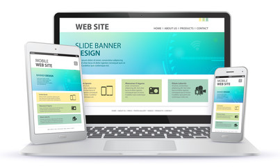 Responsive Web Site Design With Laptop, Tablet Computer and Mobile Phone Screen