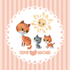 Cat family. Mother's Day greeting card with cute animals and their cubs. Colorful vector illustration in cartoon style.