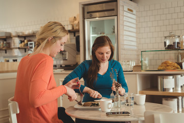 Pregnant woman and friend having breakfast