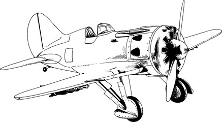 military fighter jet drawn in ink by hand in full growth on a white background