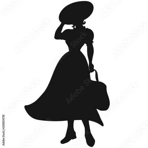 36b97c7795a Young woman in retro dress and hat