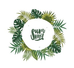 Wreath or circular garland made of palm tree leaves or foliage of tropical plants and lettering Summer inside. Decorative natural design element isolated on white background. Vector illustration.