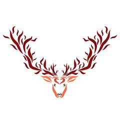 Deer with horns like trees, pattern