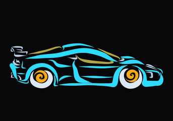 Blue cool sports car on a black background