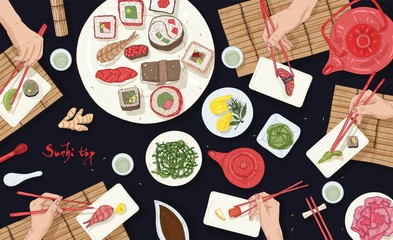 Horizontal banner with people sitting at table full of Japanese meals at Asian restaurant and eating sushi, sashimi and rolls with chopsticks, top view. Colorful realistic vector illustration.