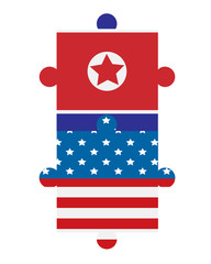 North Korea and USA flags puzzle