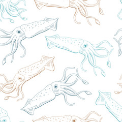 Squid calamari graphic blue beige color seamless pattern sketch illustration vector