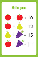 Maths game with pictures (fruit) for children, easy level, education game for kids, preschool worksheet activity, task for the development of logical thinking, vector illustration