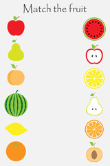 Match the fruit (apple, orange, pear, watermelon, lemon, peach) in cartoon style for children, preschool worksheet activity for kids, task for the development of logical thinking, vector illustration