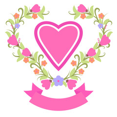 spring wreath with heart banner