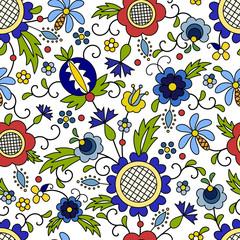 Traditional, modern Polish - Kashubian floral folk pattern vector, wzór kaszubski, wzory kaszubskie
