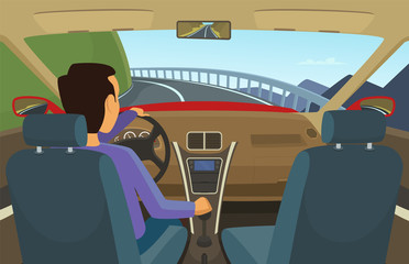 Driver inside his car. Vector illustration in cartoon style