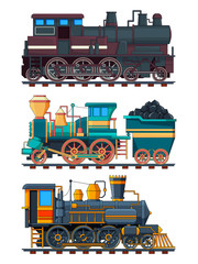 Colored cartoon pictures of retro trains