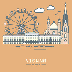 Vienna city landmarks vector illustration