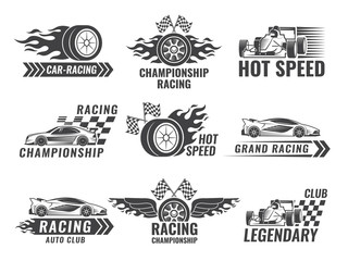 Trophy, engine, rally and others symbols for race sport labels Fototapete