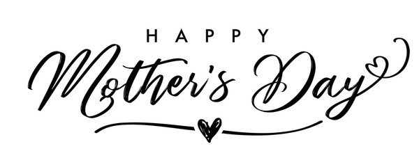 Happy Mother`s Day elegant calligraphy banner grey. Lettering vector text and heart in frame background for Mother's Day. Best mom ever greeting card