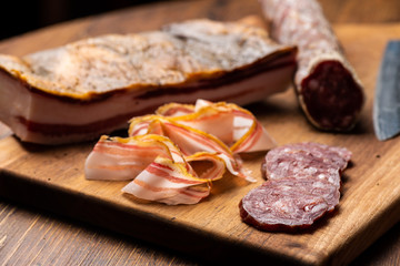 Cold cut with cured meat, bacon and charcuterie selection salami
