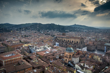 Bologna cityscape seen from the world's tallest medieval tower