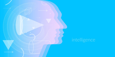 Artificial intelligence. Conceptual illustration on the theme of digital technologies, the image of the human head.