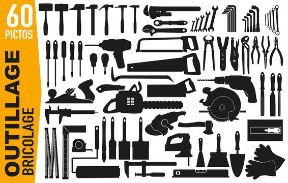 icône - pictogramme - outil - bricolage - outillage - brico - bricoleur - bricoler - clip art - picto - silhouette