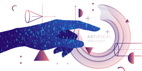 Artificial intelligence. Conceptual illustration on the theme of digital technologies, Image of human hand.