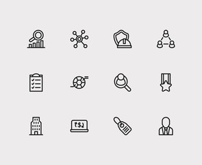 Commerce icons set. Price tag and commerce icons with compliance, ecommerce and social media. Set of organization for web app logo UI design.
