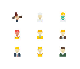 Professional icons set. Teamwork and professional icons with white worker, male worker and indian worker. Set of corporate for web app logo UI design.
