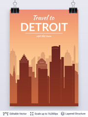 Detroit famous city scape.