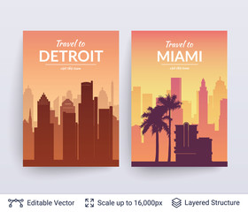 Detroit and Miami famous city scapes.