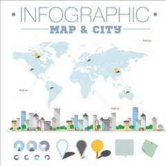 Infographic map and city.